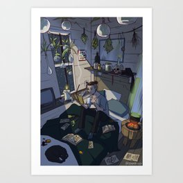 Modern Male Witch Bedroom Art Print