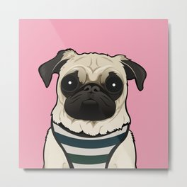 Doug the Pug - Pink BG Metal Print