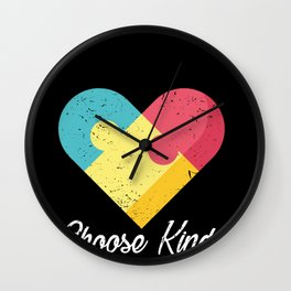 Choose Kind Colorfull Heart graphic Autism Awareness Wall Clock