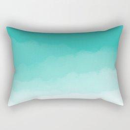 Aqua Watercolor Ombre Rectangular Pillow
