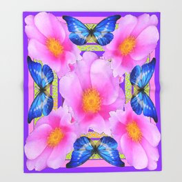 Blue Silken Butterflies Pink Camellias Patterned Abstract Throw Blanket