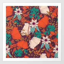 Botanical pattern 010 Art Print