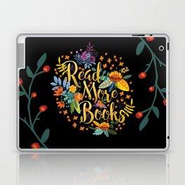 Read More Books - Black Floral Gold Laptop & iPad Skin