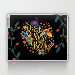Read More Books - Black Floral Gold Laptop & iPad Skin