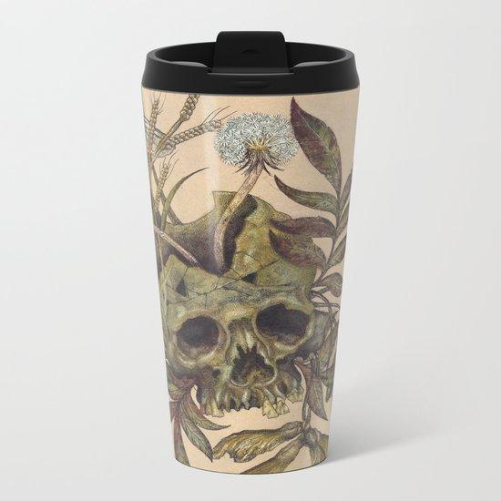 Skull with Weeds. Metal Travel Mug