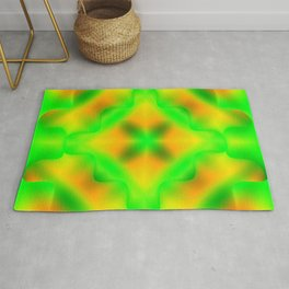Bright pattern of blurry yellow and green flowers in a vintage kaleidoscope. Rug
