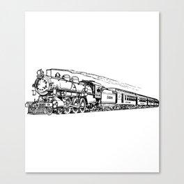 Old Steam Train Detailed Illustration Canvas Print