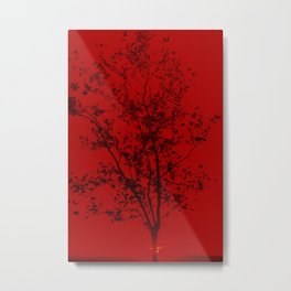Red filtered image of a tree silhouetted against a sunset Metal Print