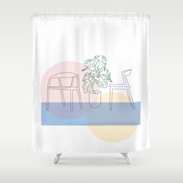 Plant and chairs Shower Curtain