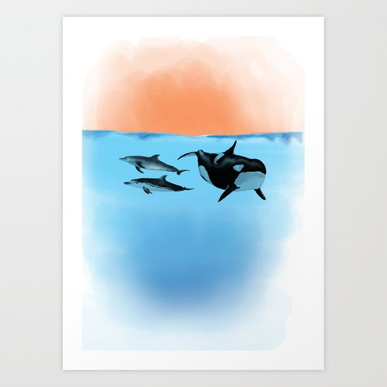 Orca and Dolphin Art Print