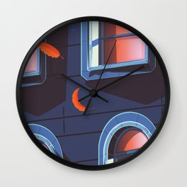 NYC Brownstone in the fall Wall Clock