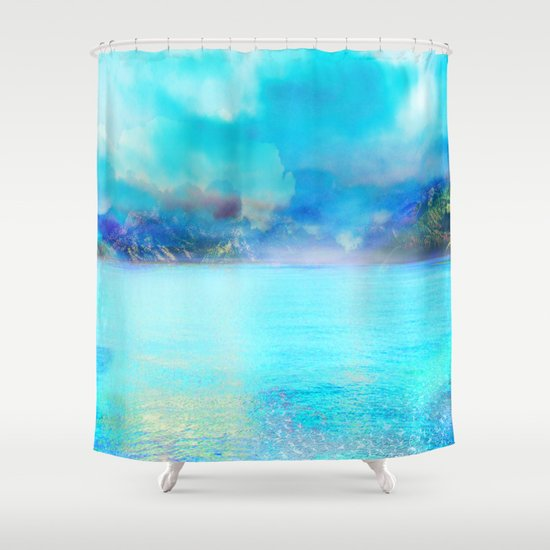 Fantasy landscape shower curtain by klara acel society6 for Fantasy shower curtains