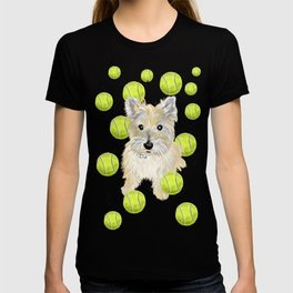Miss Caroline the Cairn Terrier is Obsessed About Fetching Tennis Balls T-shirt