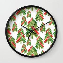 Christmas trees. Wall Clock