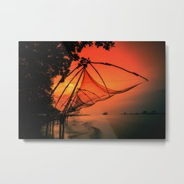 Chinese Fishing Nets, Kerala Metal Print