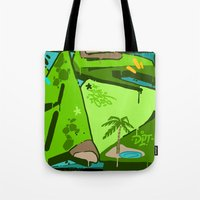oasis Tote Bags featuring OASIS by clogtwo