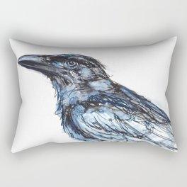 Crow with Blue Rectangular Pillow