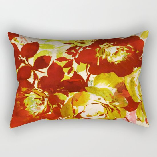 floral in red Rectangular Pillow