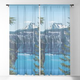 Crater Lake // Incredible National Park Views of the Dark Blue Waters Sky and Mountains through the Sheer Curtain
