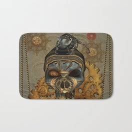 Steampunk, awesome steampunk skull with steampunk rat Bath Mat