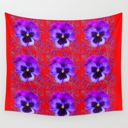 DECORATIVE PURPLE PANSY FLOWERS ON RED COLOR Wall Tapestry