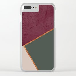 Burgundy Olive Green Gold and Nude Geometric Pattern #society6 #buyart Clear iPhone Case