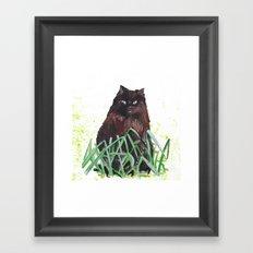 grass cat Framed Art Print