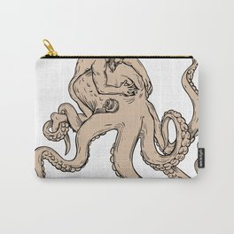 Hercules Fighting Giant Octopus Drawing Carry-All Pouch