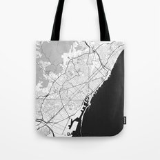Barcelona Map Gray Tote Bag