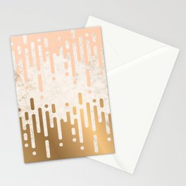 Marble and Geometric Diamond Drips, in Gold and Peach Stationery Cards