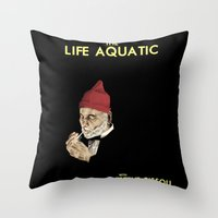 steve zissou Throw Pillows featuring Zissou by Bryan Hernandez