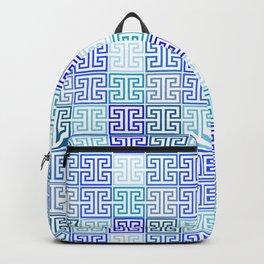 Greek Keys in Monochrome Blue Multi Backpack