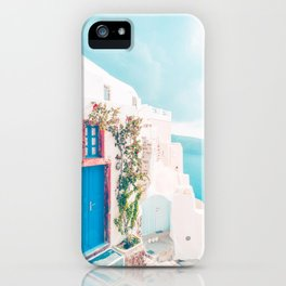 Santorini Greece Cozy blush travel photography in hd. iPhone Case