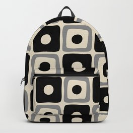 Mid Century Modern Square Dot Pattern 771 Black and Gray Backpack
