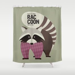 Hello Raccoon Shower Curtain