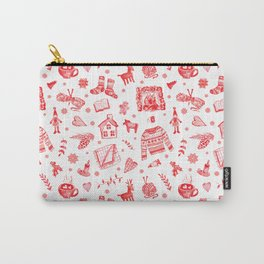 Cozy Hygge Elements in Red + White Carry-All Pouch