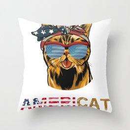 Funny Cute Cat American Americat for Men Women Kids Throw Pillow