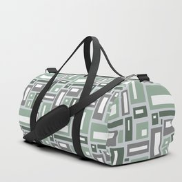 Geometric Rectangles in Sage Green and Gray Duffle Bag