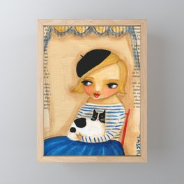 French Girl with Black and White Cat Framed Mini Art Print
