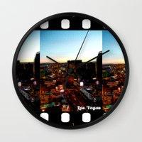 las vegas Wall Clocks featuring Las Vegas by Natasha Jones