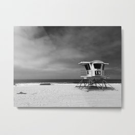 Lifeguard Tower 19 Before the Storm Metal Print