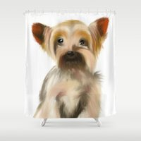 yorkie Shower Curtains featuring Yorkie Puppy on White  by barefoot art online