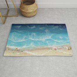 SERENITY BEACH - realistic resin seascape art, ocean art, coastal art, beach painting Rug