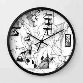 Blind contour 1 Wall Clock