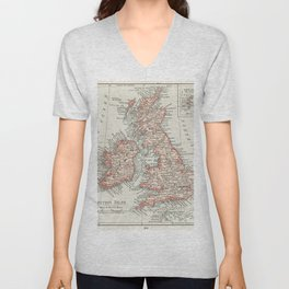 Universal Atlas of the World A cartographic map of the British Isles published in 1900 Unisex V-Neck