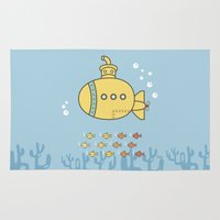 yellow submarine Area & Throw Rugs featuring Yellow Submarine by Brenda Figueroa Illustration
