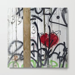 Fence with Heart Metal Print