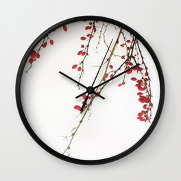 Red Berry Branches Wall Clock