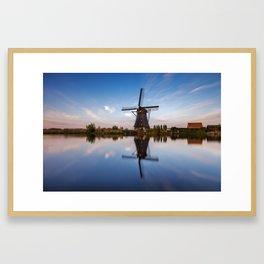 Kinderdijk Blue Hour 2 Framed Art Print