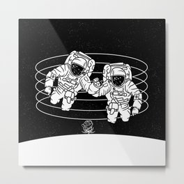 Astronaut black and white Gemini Metal Print